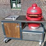 Modul der 5teilign Outdoorküche Iron für Gastronomen - Wokbrenner und Keramik-Grill