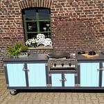 Outdoor Küche Iron mit 2er Kochfeld und Gastro Grill 3-Brenner