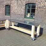 Zweiteilige Garten-Küchen Lux Holz Module mit Boiler und Kühlschrank