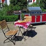 Outdoor Küche Iron mit Gas-Grill, Kochfeld, Spülbecken aus Edelstahl und Granit Arbeitsplatte