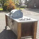 Draußen Küche Lux mit Broilchef Einbau Gasgrill, 2er Kochfeld und Kühlschrank