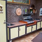 Outdoor Küchen Iron Gelb mit Grill und Kochfeld, zweitilig mit Beistellschrank