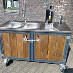 Außen-Küche Modul mit Spüle und Zapfanlage mit 25 Liter Faß