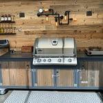 Aussenküche Iron Graublau & Holz mit Gasgrill