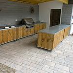 Outdoor-Küchen Gastronomie 5 Teilig mit Napoleon Gas Grill 665 Bipro, 2x 2er Gaskochfeld, Spüle mit Wasserhahn und Boiler