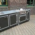 Außenküche Iron Schwarz mit 3-Brenner Gastro Gas-Grill